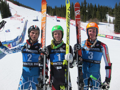 (l-r) Tommy Biesemeyer, Tommy Ford and Ryan Cochran-Siegle went 2-1-3 in the men's super G (Doug Haney/U.S. Ski Team)