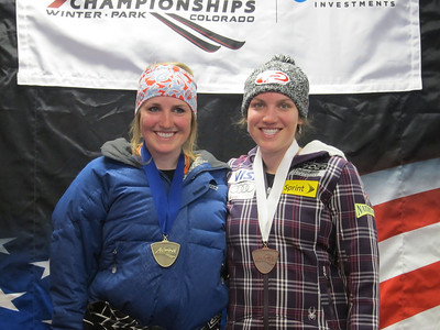 Sydney (l) and Kiley Staples at Winter Park. Sydney won the junior combined standings, while Kiley was third in the senior women's standings (Doug Haney/U.S. Ski Team)