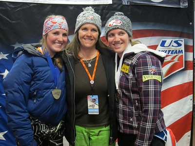 The Staples family of Sydney and Kiley along with mom Donna. Sydney won the junior combined title, while Kiley (right) was third in the senior standings (Doug Haney/U.S. Ski Team)