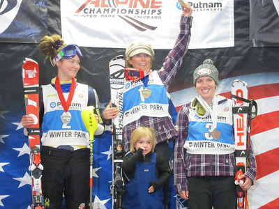 The women's combined podium of Laurenne Ross, Sarah (and Lasse) Schleper and Kiley Staples in Winter Park (Doug Haney/U.S. Ski Team)
