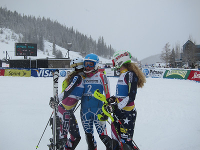 Resi Stiegler gives Mikaela Shiffrin a hug after winning the women's slalom in Winter Park. Sarah Schleper (r) was second and Stiegler third (Doug Haney/U.S. Ski Team)