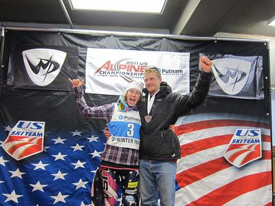Resi Stiegler celebrates finishing third along with her brother Seppi in the U.S. Championships slalom (Doug Haney/U.S. Ski Team)