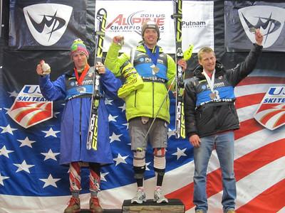 Tommy Ford, Colby Granstrom and Seppi Stiegler went 2-1-3 in the men's slalom (Doug Haney/U.S. Ski Team)