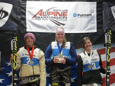 The junior women's combined podium of Emma Naatz, Sydney Staples and Lila Lapanja (Doug Haney/U.S. Ski Team)