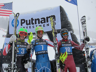 The men's slalom podium of (l-r) Tommy Ford, Colby Granstrom and Seppi Stiegler who finished 2-1-3 in Winter Park (Doug Haney/U.S. Ski Team)