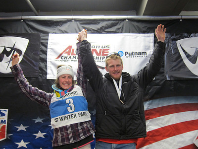 Sister and brother Resi and Seppi Stiegler both finished third in the U.S. Champs slalom at Winter Park (Doug Haney/U.S. Ski Team)