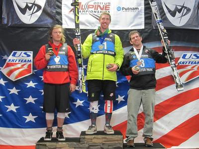 The junior men's slalom podium of Juho-Pekka Penttinen, Michael Ankeny and Taylor Wunsch (Doug Haney/U.S. Ski Team)