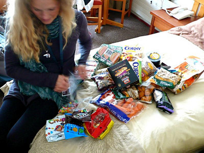 Sarah Schleper unloads a major snack pack after arriving in Valle Nevado, Chile (Resi Stiegler/www.resi-stiegler.com)