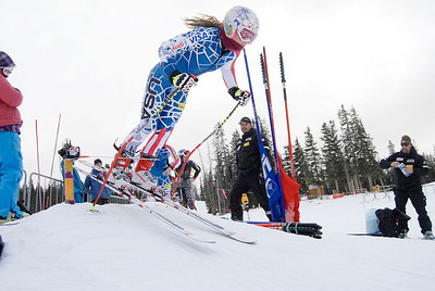 Laurenne Ross kicks out of the gate during speed training at Copper Mountain (Mark Fox/Summit Daily News)