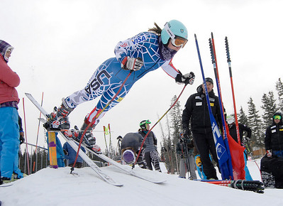 Chelsea Marshall barges out of the gate during speed training in Copper Mountain (Mark Fox/Summit Daily News)