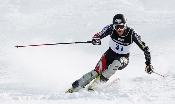 Will Brandenburg, USA, wins  the Mens Slalom event during the 2011 Winter Games at Coronet peak, New Zealand, 24/08/2011. Pic Michael Thomas