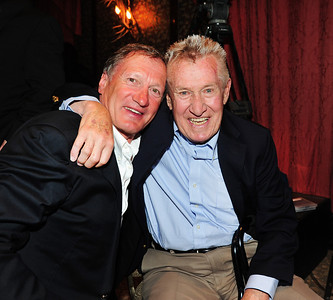 Olympic champion Franz Klammer and Coach Bob Beattie share an embrace as friends gathered at Aspen's historic Hotel Jerome to honor Beattie. (Tom Kelly)
