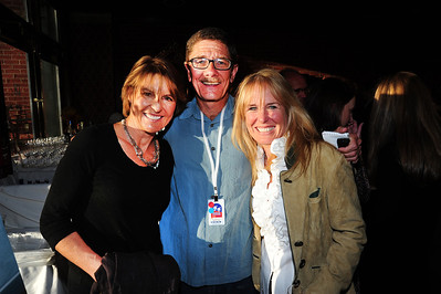 Journalist John Meyer poses with World Cup ski racers Christin Cooper and Pam Fletcher as friends gathered at Aspen's historic Hotel Jerome to honor Coach Bob Beattie. (Tom Kelly)