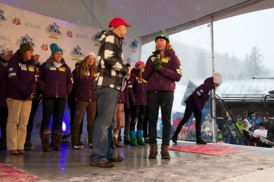 Doug Lewis and Mikaela Shiffrin at First Tracks - the Alpine Team Announcement - presented by Nature Valley at Vail, CO (Tom Green/Vail Resorts)