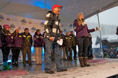 Doug Lewis and Lindsey Vonn hype the crowd at First Tracks - the Alpine Team Announcement - presented by Nature Valley at Vail, CO (Tom Green/Vail Resorts)