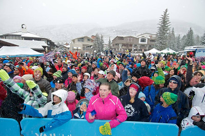 A huge crowd at First Tracks - the Alpine Team Announcement - presented by Nature Valley at Vail, CO (Tom Green/Vail Resorts)