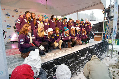 The women's U.S. Alpine Ski Team at First Tracks - the Alpine Team Announcement - presented by Nature Valley at Vail, CO (Tom Green/Vail Resorts)