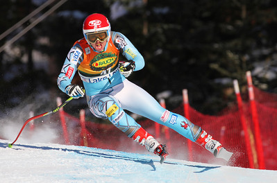 Julia Ford attacks the women's super G at Lake Louise (Malcolm Carmichael/Alpine Canada)