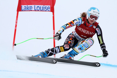 Julia Mancuso in the second Audi FIS Alpine World Cup downhill in Lake Louise (Malcolm Carmichael/Alpine Canada)
