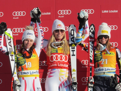 Lindsey Vonn and Julia Mancuso after finishing first and third in the super G at Lake Louise (Doug Haney/U.S. Ski Team)