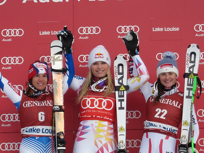 Marie Marchand Arvier, Lindsey Vonn and Elisabeth Goergl on the second downhill podium in Lake Louise (Doug Haney/U.S. Ski Team)