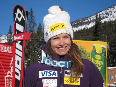 Julia Mancuso after finishing third in the super G at Lake Louise (Doug Haney/U.S. Ski Team)