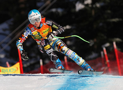 Julia rockets to a third place finish in the women's super G at Lake Louise (Malcolm Carmichael/Alpine Canada)