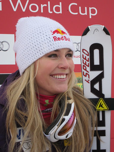 Lindsey Vonn after winning her second downhill in as many days in Lake Louise (Doug Haney/U.S. Ski Team)
