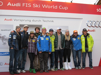 (l-r) Tommy Biesemeyer, Colby Granstrom, Julia Mancuso, Jimmy Cochran, Tommy Ford, Ted Ligety, Bode Miller, Lindsey Vonn, Warner Nickerson and Will Gregorak at the Audi opening press conference in Soelden (Doug Haney/U.S. Ski Team)