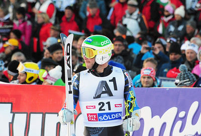 Bode Miller in the finish at the Audi FIS Alpine World Cup opener in Soelden, Austria. (c) 2011 U.S. Ski Team/Tom Kelly