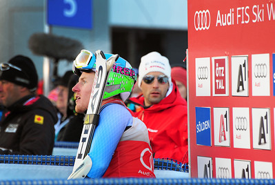Olympic champion Ted Ligety watches from the leaders box in the first run of the Audi FIS Alpine World Cup opener in Soelden, Austria. (c) 2011 U.S. Ski Team/Tom Kelly