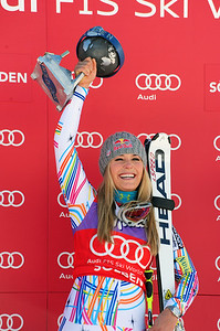 Lindsey Vonn celebrates an historic GS win in the Audi FIS Alpine World Cup opener in Soelden, Austria. (c) 2011 U.S. Ski Team/Tom Kelly