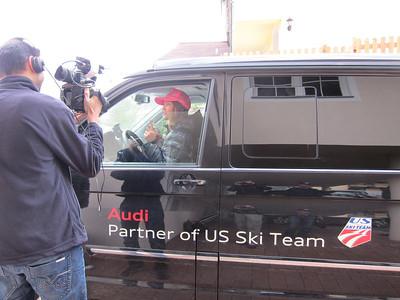 Julia Mancuso interviews with Eurosport prior to the 2012 Audi FIS Alpine World Cup opener in Soelden, Austria (Doug Haney/U.S. Ski Team)