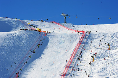 Blue skies shine down on a rock hard women's GS course at the Audi FIS Alpine World Cup opener in Soelden, Austria. (c) 2011 U.S. Ski Team/Tom Kelly
