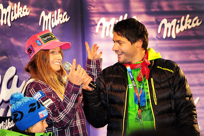 Julia Mancuso has fun with the announcer at the bib draw for the Audi FIS Alpine World Cup opener in Soelden. (c) 2011 U.S. Ski Team/Tom Kelly