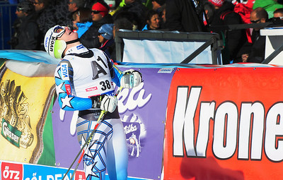 Tim Jitloff in the finish at the Audi FIS Alpine World Cup opener in Soelden, Austria. (c) 2011 U.S. Ski Team/Tom Kelly