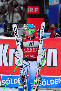 Ted Ligety takes the lead in the FIS Alpine World Cup opener in Soelden, Austria. (c) 2011 U.S. Ski Team/Tom Kelly
