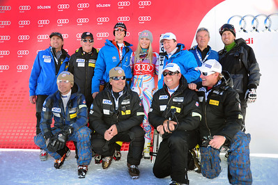 The U.S. Ski Team staff celebrates Lindsey Vonn's first career GS win at the Audi FIS Alpine World Cup opener in Soelden, Austria. (c) 2011 U.S. Ski Team/Tom Kelly