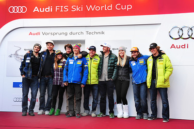 The U.S. Alpine Ski Team poses during a press conference to open the Audi FIS Alpine World Cup in Soelden. (c) 2011 U.S. Ski Team/Tom Kelly