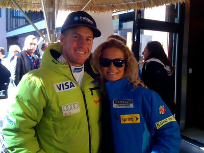 Ted Ligety and Sarah Schleper at the Soelden/Obergurgl-Hochgurgl/Oetztal partnership announcement in Innsbruck, Austria (Oetztal Tourism)