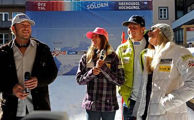 Bode Miller, Julia Mancuso, Ted Ligety, Lindsey Vonn at the Soelden/Obergurgl-Hochgurgl/Oetztal partnership announcement in Innsbruck, Austria (Oetztal Tourism)