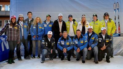 The U.S. Ski Team at the Soelden/Obergurgl-Hochgurgl/Oetztal partnership announcement in Innsbruck, Austria (Oetztal Tourism)