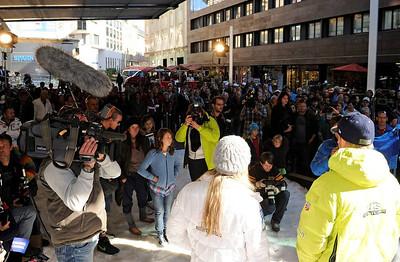 The U.S. Ski Team partnership announcement with Soelden/Obergurgl-Hochgurgl/Oetztal in Innsbruck, Austria (Oetztal Tourism)