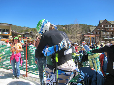 Robby Kelley gets a  hug from Bryce Bennett after locking the men's giant slalom title (Doug Haney/U.S. Ski Team)