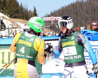 Canadian Dustin Cook congratulates Robby Kelley on the giant slalom title (Winter Sports Photos)
