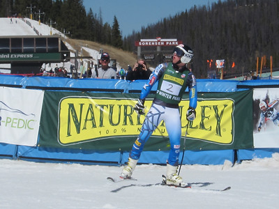Robby Kelley reacts in the finish after winning the giant slalom gold at Winter Park (Doug Haney/U.S. Ski Team)
