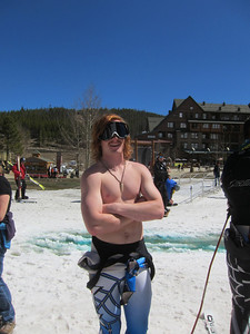 Keiffer Christianson displays just how warm it was in Winter Park (Doug Haney/U.S. Ski Team)