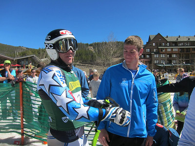 Ryan Cochran-Siegle congratulates his cousin Robby on the giant slalom gold medal (Doug Haney/U.S. Ski Team)