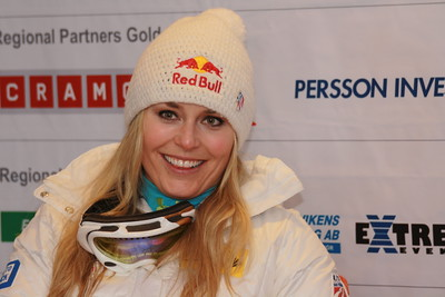 Lindsey Vonn smiles in a press conference after securing a historic fourth Audi FIS Alpine World Cup title with a giant slalom victory in Are, Sweden (Pernila Hammar Rognøy/Are Destinations)