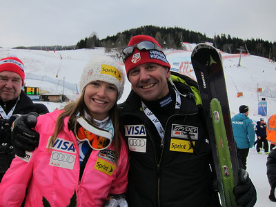 Julia Mancuso poses with Head Coach Alex Hoedlmoser after finishing second in the Bad Kleinkirchheim, Austria downhill for her third podium of the season (Doug Haney/U.S. Ski Team)